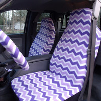 1 Set Of Purple and White Chevron  Seat Covers and the Steering Wheel Cover  Custom made.