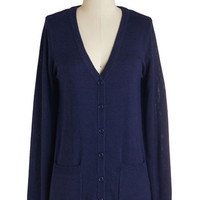 ModCloth Americana Mid-length Long Sleeve Have a Good Knit Cardigan in Navy