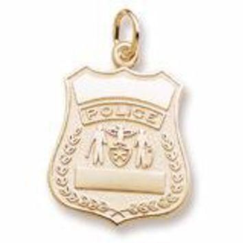 Police Badge Charm in Yellow Gold Plated