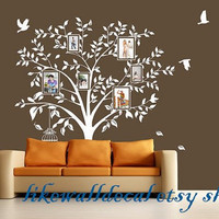 stickers living room bed baby room-photo frame tree with leaf photogragh showing bird birdcase Art Decals Wall Sticker