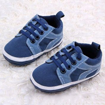 Baby Kids Boys First Walkers Lace-Up Sports Shoes Newborn Bebe Toddler Soft Bottom Anti-slip Footwear