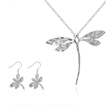Dragonfly Pendant Necklace and Earrings Set Link Chain Fashion Jewelry Sets