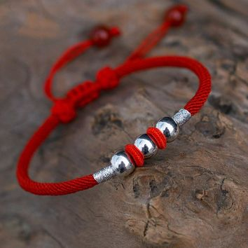Real Pure 999 Sterling Silver Round Beads Lucky Red Rope Handmade Bracelet For Men And Women Tibetan String Gift Dropshipping