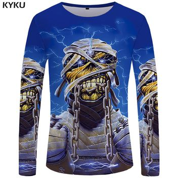 KYKU Iron Maiden Long sleeve T shirt Skull Tshirt Punk Tops Gothic Funny T shirts  Clothes  Clothing Men Casual Ftness Slim
