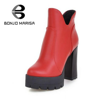 BONJOMARISA Add Fur Boots Women Sexy High Heels Dress Platform Shoes Girls Lady More Color Round Toe Winter Snow Woman Boots