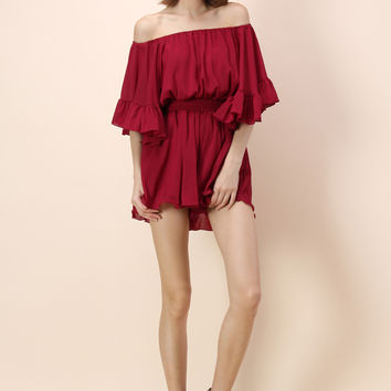Frill Like Dancing Off-shoulder Playsuit in Wine