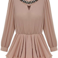 Diamante Neckline Pleasted Lower Pink Blouse