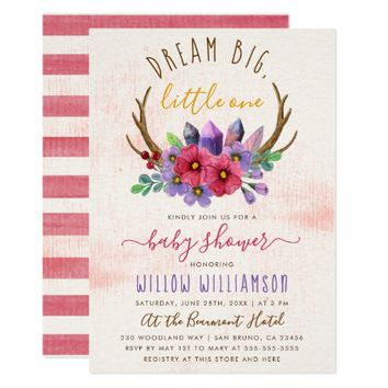 Boho Antlers, Wild Flowers & Crystals Baby Shower Card