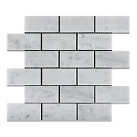 2 X 4 Carrara White Marble Honed Brick Mosaic Tile