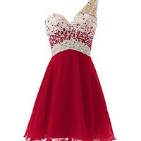One Shoulder Chiffon Homecoming Dresses, Red Homecoming Dress With Applique