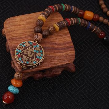 Evade ethnic handmade sanwood necklace bodhi beads nature stones round plate