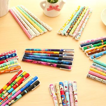 6pcs/set Cute hello Kitty pens 0.38mm Black ink roller pen Kawaii cat Gel Pens School canetas gift Stationery Office supply