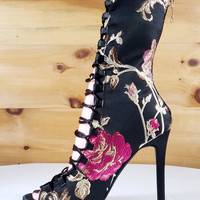 Kassy Black Satin Embroidered Floral Lace Up Low Calf Boot Shoe