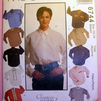 Women's Shirt, Detachable Jabot and Tie Misses' Size 12, 14 McCall's 6744 Sewing Pattern Uncut