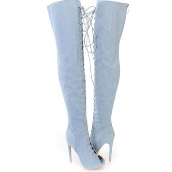 Fashion Over the Knee High Martin Women Lace Up Type Boots Thigh High Knight Bootie Shoes Blue-1