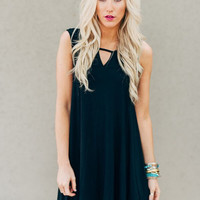 Peek Cap Sleve Black Dress