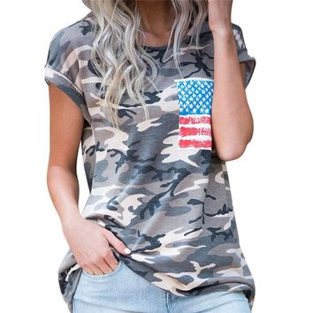 RWL BOUTIQUE Women Casual Military Camouflage American Flag T Shirt Round Neck Short Sleeve Summer Tees Outfit 80211