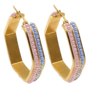 Hexagon Hoop Earrings Stainless gold color plated plastic pearl & with rhinestone 37x36x7mm