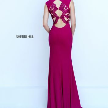 Sherri Hill 50286 Magenta Lace Open Back Jersey Dress