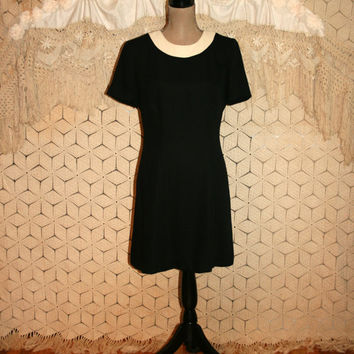 Short Sleeve Black Dress White Collar Black Day Dress Midi Dress Short Black Dress Leslie Fay Size 8 Size 10 Medium Womens Clothing