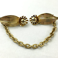 Gold Toned Art Deco Sweater Clip Mid Century Sweater Chain Vintage Sweater Guard Cardian Clips