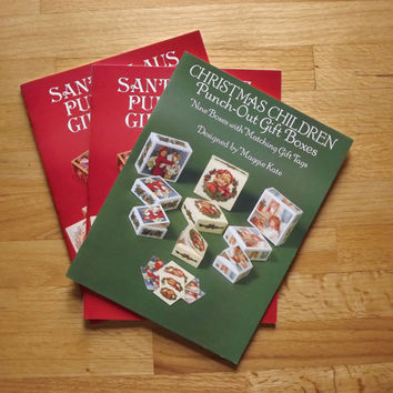 Christmas Gift Boxes, Set of 3 Santa Claus Box Christmas Children Victorian Gift Box, Punch Out Gift Box, Vintage Dover Booklets