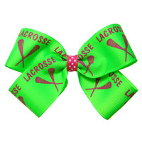 Large LAX Lacrosse Hair Bow in Hot Pink by APinkLemonadeDesigns