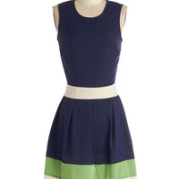 ModCloth Nautical Mid-length Sleeveless A-line Coastal Companion Dress in Navy