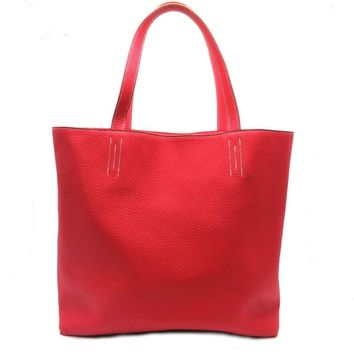 Hermes Clemence Double Sens Reversible Tote Bag Red 0983