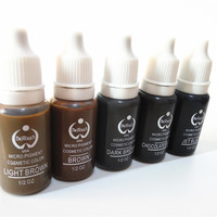 5pcs biotouch tattoo ink dark brown black colors for permanent makeup micropigment 15ml 1/2oz cosmetic manual paint