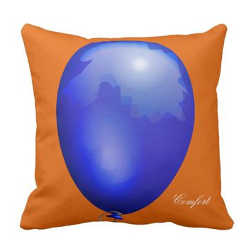 Dark blue toy balloon funny unique throw pillow