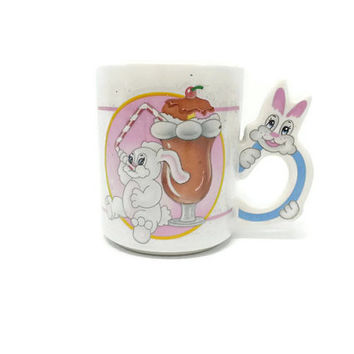 Bunny Rabbit Milkshake Mug, Kitsch, Vintage Kitchen