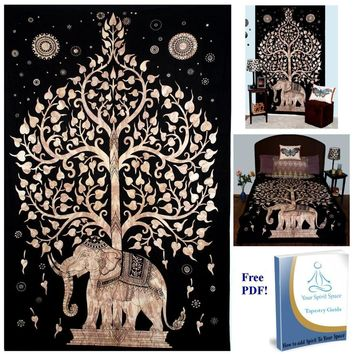 New Indian Elephant Tapestry Aubusson Tree Of Life Decor Mandala Beach Mat Religious Bohemia Wall Carpet LivingRoom Blanket