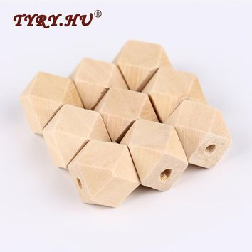 TYRY.HU 10Pcs/Lot 14mm/16mm DIY Natural Wooden Hexagon Beads For Kids Necklace or Bracelet Making Wooden Teethers Baby Toys