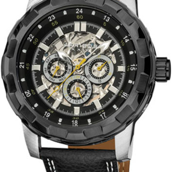 Akribos Automatic Skeleton Dial Black Leather Mens Watch AK557BK