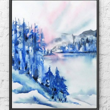 Watercolor Painting Print,Abstract Landscape,Original Art,Scenic Forest,Free Shipping to Canada,Blue Wall Decor,8x10 11x14 13x19,Large,Small