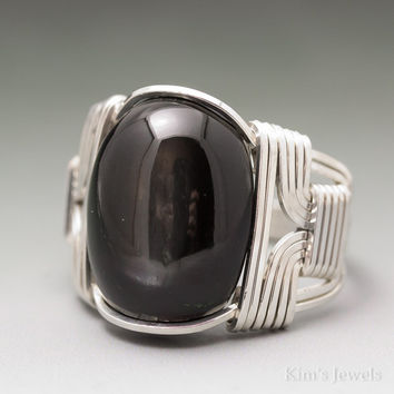 Black Star Diopside Sterling Silver Wire Wrapped Cabochon Ring
