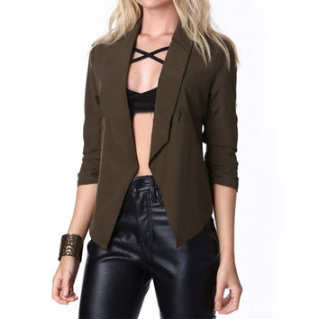 2016 Spring Autumn New Women Thin Blazers Short Jackets Sexy Notched 3/4 Sleeve Black Army Green Cropped Coats Casual Suits