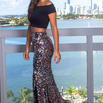 Multi Colored Sequined Maxi Skirt