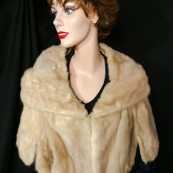 Vintage pin up bombshell 1950s blonde MINK FUR Stole Cape Wrap Wedding Bridal