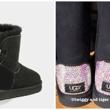 NEW - Ugg Mini Bailey Bow Stripe Black Boots with Swarovski Crystal Bling Boot Heel - Mini Bailey Bow Uggs with Crystal Bling