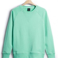 Green Classic Plain Collar Raglan Sleeve Sweatshirt$43.00