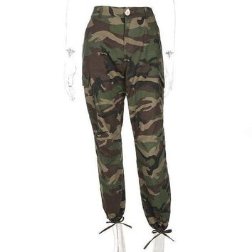 DCCKON3 Women army green loose baggy trouserscamouflage printed joggers sweatpants pants hip hop dance pants plus size