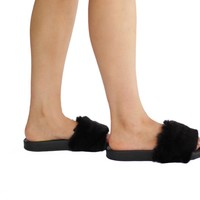 Women's faux fur slippers fashion shoes slides slip on slippers flats