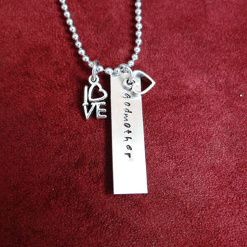Godmother with love and heart charm necklace