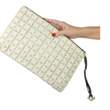 Plasticflex White Tile Clutch - 1940s / Art Deco