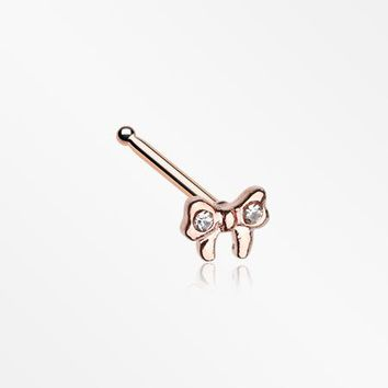 Rose Gold Dainty Bow-Tie Sparkle Nose Stud Ring