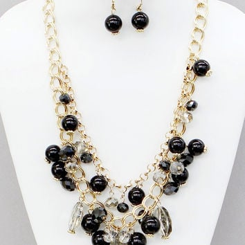 Gold, Black, and Clear Cluster Double Strand Necklace