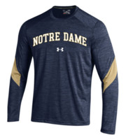 Men's Under Armour Navy Notre Dame Fighting Irish 2016 Sideline Microstripe Performance Long Sleeve T-Shirt