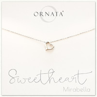 """Sweetheart"" Sterling Silver Heart Necklace on Personalized Jewelry Card"